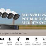 kupon, banggood, Hiseeu 4pcs POE H.265 + sigurnosne IP kamere 8CH 5MP NVR sustav za podršku zvuka noćni vid 10m IP66 vodootporan Onvif