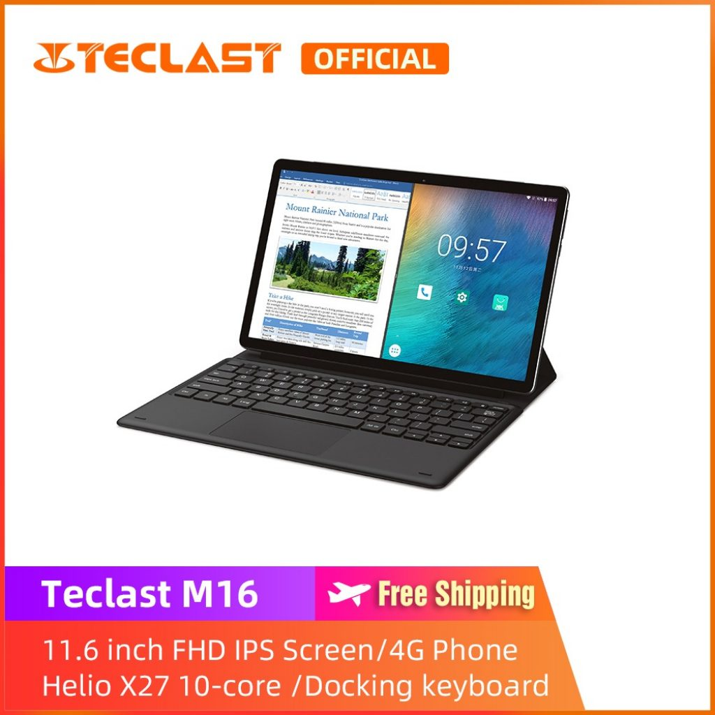 coupon, banggood, Teclast M16 Helio X27 Deca Core Processor 4GB RAM 128GB ROM 11.6 Inch Android 8.0 Tablet PC with Keyboard