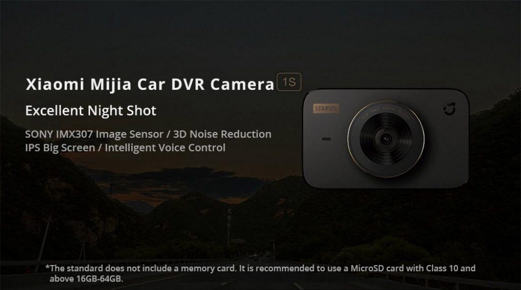 kupon, geekbuying, Xiaomi Mijia Car DVR Camera 1S SONY IMX307 Sensor 3 Inch IPS Screen 1080P 140 Degree Wide 3D Noise Reduction Intelligent Voice Control Global Bersyon