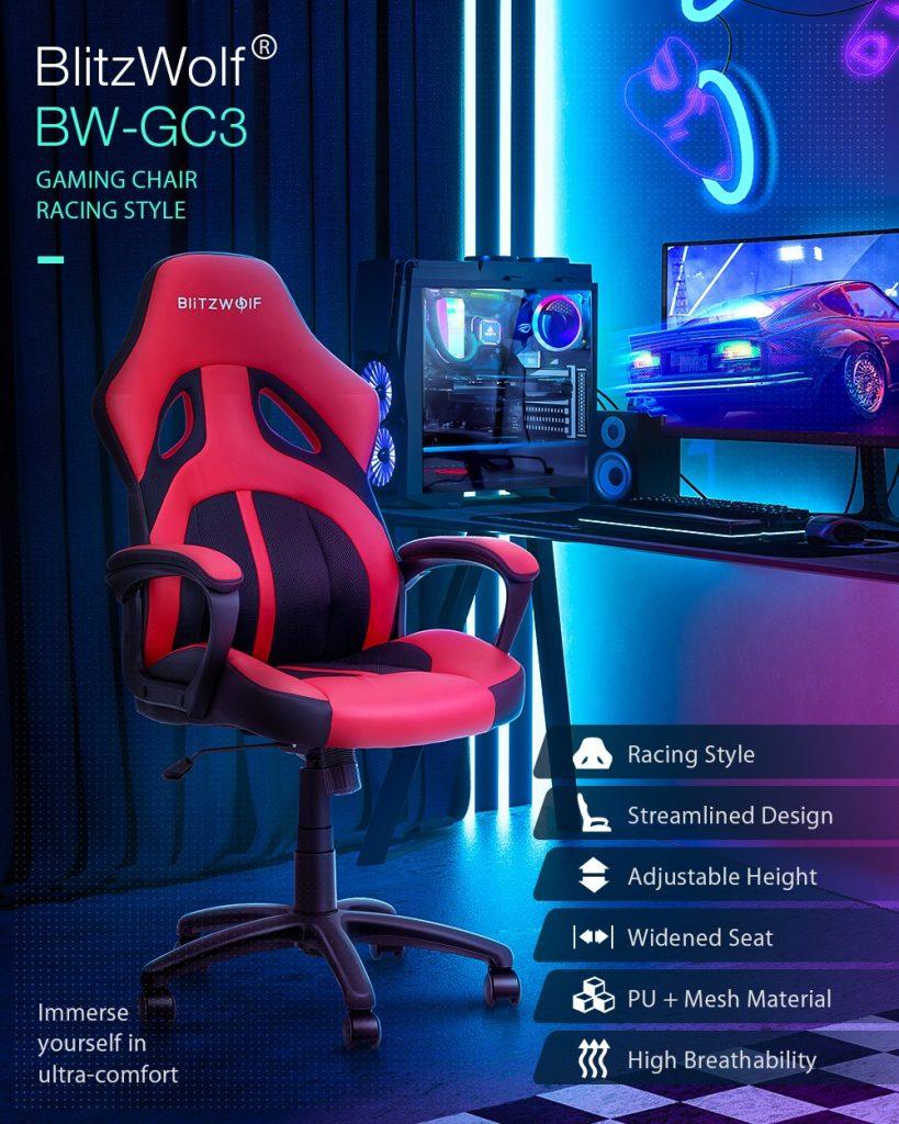 कूपन, बैंगवुड, ब्लिट्ज़वॉल्फ®-BW-GC3- रेसिंग-स्टाइल-गेमिंग-चेयर