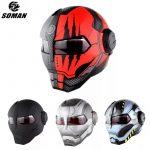 coupon, banggood, SOMAN-Iron-Man-Helmet-Flip-Up-Motorcycle-Helmet