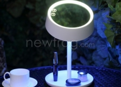 USB Charging LED Cosmetic Makeup Mirror with Table Lamp for Bedroom Decor-Up To 50% Off from Newfrog.com