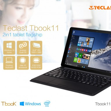 $ 10 av COUPON for Teclast Tbook 11 2 i 1 Ultrabook Tablet PC fra GearBest