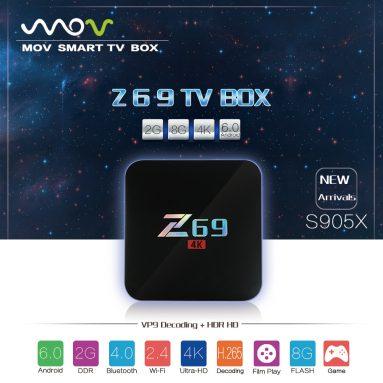 $ 38.99 קופון עבור MOV Z69 4K חכם טלוויזיה Box Amlogic S905X מ GearBest