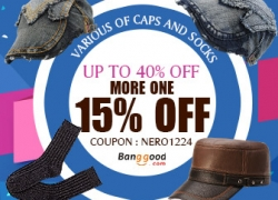 15% OFF for Hottest Caps & Socks Accessories from BANGGOOD TECHNOLOGY CO., LIMITED