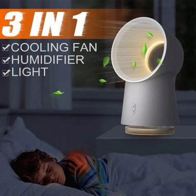 €20 with coupon for 3 in 1 Mini Bladeless Desktop Fan Humidifier LED Light from Xiaomi youpin from GEARBEST