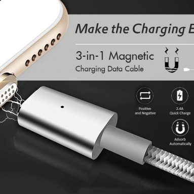 $5 with coupon for 3-in-1 Quick Charging Magnetic Data Cable from GearBest