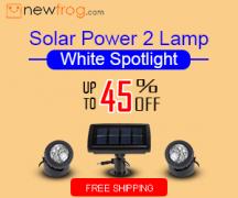 Solar Power 2 Lamp White Spotlight-Up to 45% Off from Newfrog.com