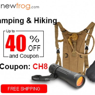 Camping & Hiking-Up to 40% off and Coupon CH8 from Newfrog.com