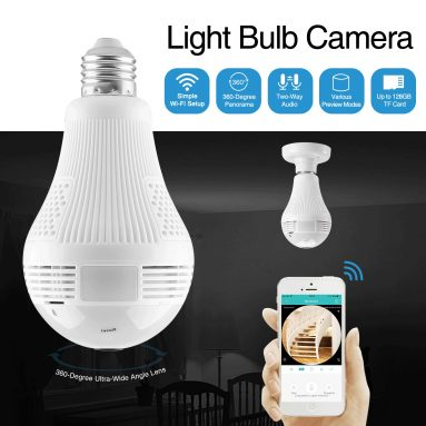 €17 with coupon for 360° 960P Smart Wireless Camera LED Light Bulb FishEye CCTV 1.3MP Panoramic Security for Home AC100-240V from BANGGOOD