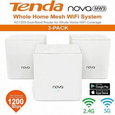 89PCS 쿠폰 포함 3 달러 TENDA MW3 메시 2.4GHz + 5GHz WiFi 라우터 스루 벽 전체 범위 스마트 QoS AC 1200 이중 주파수 지원 GEEKBUYING의 MU-MIMO 기술 APP 제어