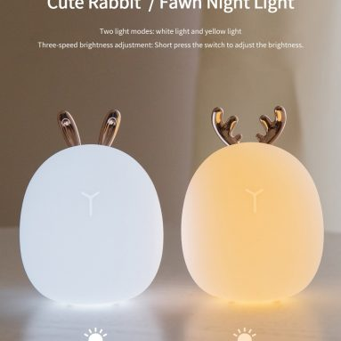 8life에 대한 쿠폰과 3 토끼 새끼 사슴 실리콘 LED 나이트 라이트 따뜻한 흰색 빛 USB 충전 Childern 책상 토끼 밤 램프 - BawnGOOD에서 새끼