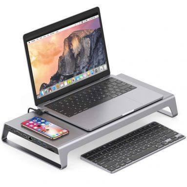 € 101 עם קופון עבור 4K HDMI אלומיניום צג מעמד תחנת עגינה למחשב נייד עם USB C רכזת תמיכה VGA כרטיס TF טעינה אלחוטית למשרד ביתי מ BANGGOOD