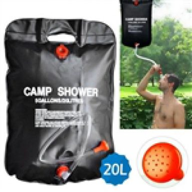 13%OFF for Premium Solar Camping Shower Bag, 5-gallon / Includes Removable Hose W/on-off Switchable Shower Head from TinyDeal