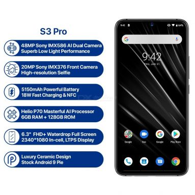 UMIDIGI S3 PRO Android 9.0 48MP+12MP+20MP Super Camera 5150mAh 6GB +128GB Smart Phone @ $279.99 Only + Free Shipping from DealExtreme