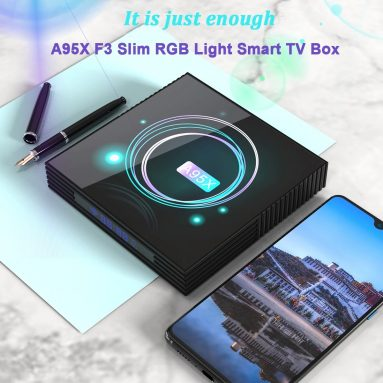 €39 with coupon for A95X F3 Slim Android 9.0 RGB Light Smart TV Box – Black 4GB RAM+64GB ROM EU Plug from GEARBEST