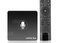 $35 with coupon for A95X PRO Android TV Box with Voice Control  –  EU PLUG  BLACK from GearBest