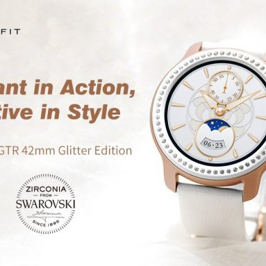 €144 with coupon for AMAZFIT GTR 42mm Smart Watch Glitter Edition Zirconia from Swarovski 5ATM Waterproof GPS GLONASS 12 Sports Modes 326ppi AMOLED Screen Global Version (Xiaomi Ecosystem Product) – White from GEARBEST