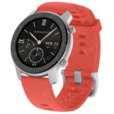 €94 with coupon for AMAZFIT GTR 42mm Smart Watch 12 Days Battery Life 5ATM Waterproof Global Version ( Xiaomi Ecosystem Product ) – Red 42mm Aluminum Alloy Case from GEARBEST