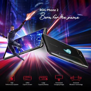 € 447 з купоном на ASUS ROG Phone 2 6.59-дюймовий FHD + 6000mAh Android 9.0 NFC 48MP + 13MP задня камера 8GB RAM 128GB ROM UFS 3.0 Snapdragon 855 Plus Octa Core 2.96GHz 4G Gaming Smartphone - Black Global Rom від BANGGOOD