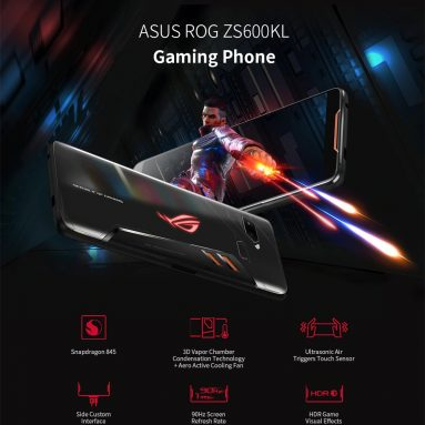€ 359 쿠폰 포함 ASUS ROG 전화 ZS600KL 6.0 인치 FHD + IP68 방수 NFC 4000mAh 12MP + 8MP 듀얼 후면 카메라 8GB RAM 128GB ROM Snapdragon 845 Octa Core 2.96GHz 4G 게임 스마트 폰 – BANGGOOD의 Black Global Rom