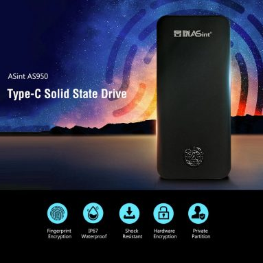 $79 with coupon for ASint AS950 Type-C Fingerprint Double Encryption Solid State Drive – Black 120GB from GEARBEST