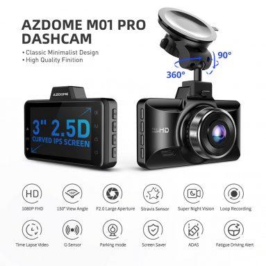 36 € cu cupon pentru AZDOME M01 Pro Dash Cam 1080P FHD DVR Recorder de conducere auto de la TOMTOP