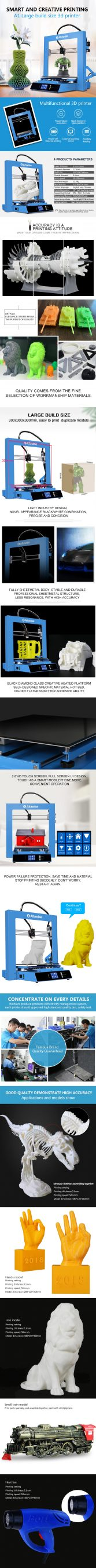 $359 with coupon for Alfawise A1 3D Printer Kit Printing – OCEAN BLUE EU PLUG from GearBest