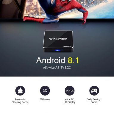 $22 with coupon for Alfawise A8 TV BOX Rockchip 3229 Android 8.1 – BLACK EU PLUG from Gearbest