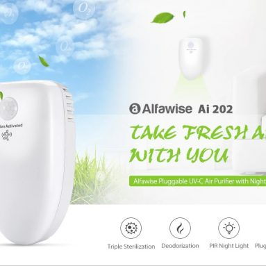 $29 with coupon for Alfawise Ai 202 Pluggable Air Purifier UV-C Deodorizer Sterilizer with Night Light from GearBest