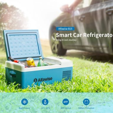 €168 with coupon for Alfawise B15 15L Smart Portable Car Freezer / Fridge Refrigerator – Blue Koi US Plug (2-pin) from GEARBEST