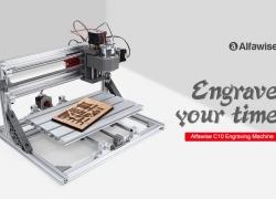 € 206 s kupónom pre Alfawise C10 CNC gravírovací stroj s ER11 2500mW Laser - Silver 3018 EU Plug s 2500mw Laser od GEARBEST