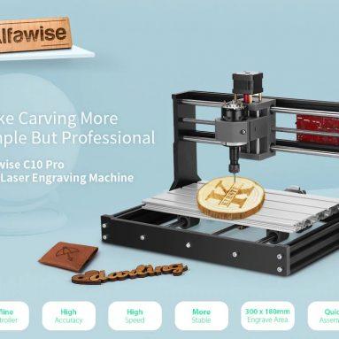 140 € s kupónem na Alfawise C10 Pro CNC laserový GRBL Control DIY gravírovací stroj Profesionální modulární vysoce integrovaná 3osá fréza na dřevo - černý C10 PRO + offline ovladač + 2500mw laserový modul EU od GEARBEST