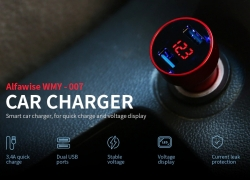 $3 with coupon for Alfawise Dual USB 3.4A Fast Car Charger – BLACK from GearBest