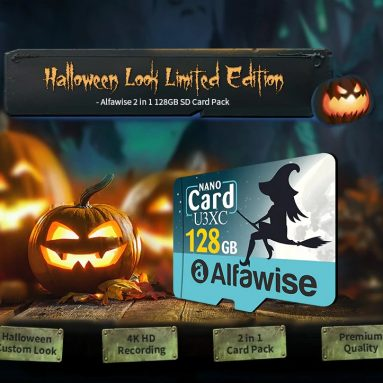 $ 16 med kupon til Alfawise Limited Edition Halloween High Speed ​​2 I 1 128GB Micro SD-kortpakke - Multi 128GB U3XC fra GEARBEST