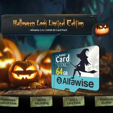 $ 8 med kupon til Alfawise Limited Edition Halloween High Speed ​​2 I 1 64GB Micro SD-kortpakke - Multi 64GB U3XC fra GEARBEST