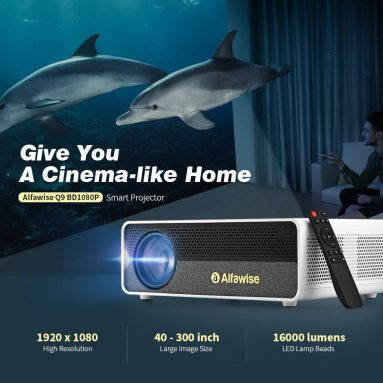 $ 149 na may kupon para sa Alfawise Q9 BD1080P 40-300 pulgada Mirroring Screen 4K Smart Projector na may Mataas na Liwanag - White Basic mula sa GEARBEST