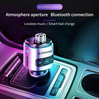 €7 with coupon for Alfawise QC3.0 Bluetooth 4.2 FM Transmitter Dual USB Ports Car Charger from GEARBEST