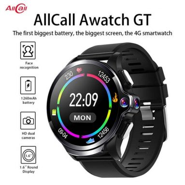 €115 with coupon for [Face Unlock] AllCall Awatch GT Face Recoginition Dual Chip System 3G+32G Dual Cameras 1260mAh Big Battery 4G-LTE Watch Phone – Black from BANGGOOD