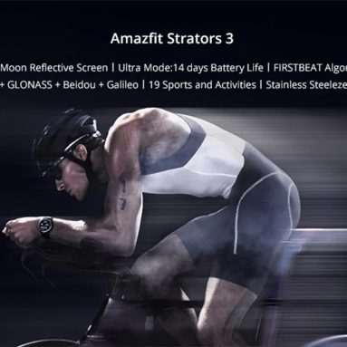 € 173 med kupon til Amazfit Stratos 3 Smart GPS Sports Watch 1.34 tommer skærm 5ATM Vandtæt Multi-sports tilstande BioTracker Pulsmåler MP3 Player fra GEARBEST