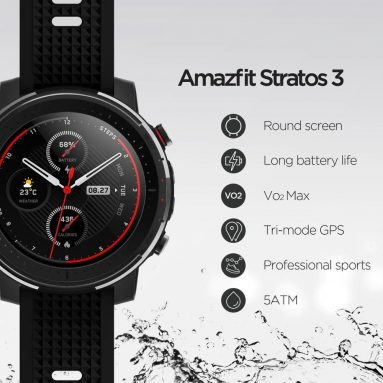 €128 with coupon for Amazfit Stratos 3 Smart GPS Sports Watch 1.34 inch Screen 5ATM Waterproof Multi-sports Modes BioTracker Heart Rate Monitor MP3 Player Global Version from ALIEXPRESS