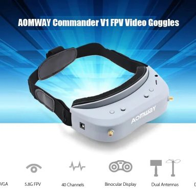 €221 with coupon for Aomway Commander V1 Goggles 2D 3D 40CH 5.8G FPV Glasses – BLUE GRAY from GearBest