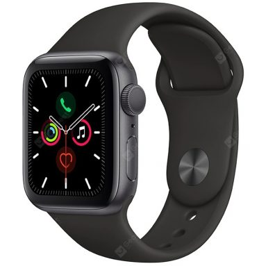 € 424 med kupon til Apple iWatch Series 5 Smart Sports Watch Health Tracker Fitness Record Bluetooth 4G Smartwatch GPS version - Multi-A 44mm Space Grey Aluminium Taske med sort sportsbånd fra GEARBEST