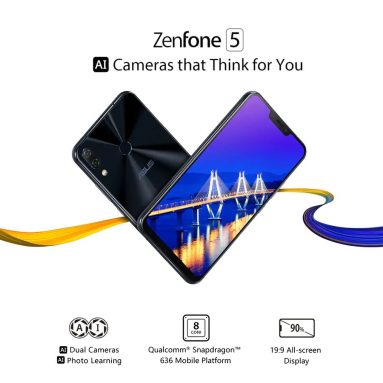 €269 with coupon for Asus ZENFONE 5 ZE620KL 4G Phablet Global Version – BLACK from GearBest