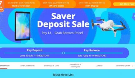 VANZARE DEPOZIT BANGGOOD SAVER Prindeți cel mai mic preț, plătiți acum 2,52 € / 3 $ depozit și plătiți soldul din 7 iulie