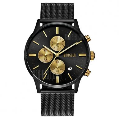 $21 with coupon for BAOGELA 1611 Chronograph Men Watch with Multi-function Stainless Steel Mesh Band  –  BLACK GOLD from GearBest