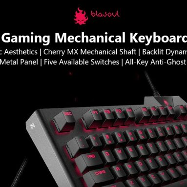 €120 with coupon for BLASOUL USB Wired Gaming Mechanical Keyboard with Cherry Switch from Xiaomi youpin – BLACK RED SWITCH from GearBest