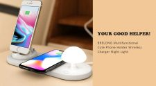 €19 with coupon for BRELONG Multifunctional Cute Phone Holder Wireless Charger Night Light from GearBest
