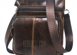 $14 with coupon for BULLCAPTAIN Genuine Leather Shoulder Bag  –  BROWN from Gearbest