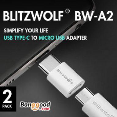 $ 2.59 pro BlitzWolf® BW-A2 USB typ C na mikro USB adaptér od firmy BANGGOOD TECHNOLOGY CO., LIMITED